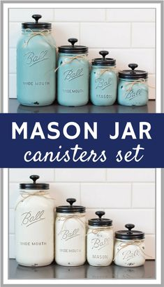 Mason Jar Canisters: Each set of 4 includes one 64oz, one, 32oz & two 16oz canisters. Hand painted and distressed to give it that rustic appearance, with multiple options for customization // affiliate link