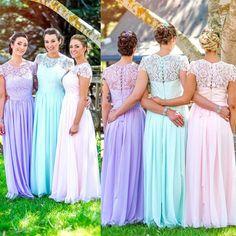 Pretty in Pastels! - Multicolored bridesmaid dresses!