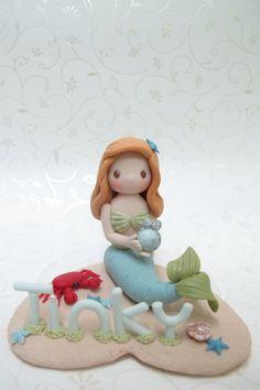 Handmade Little Mermaid Figurine for birthday by claydoughandme, $52.90