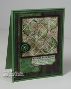 By Lynn Weiss. Score. Stamp. Apply VersaMark over the whole image. Emboss with clear embossing powder.