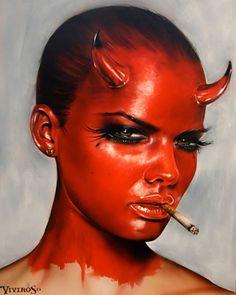 As surreais pinturas hiper-realistas de mulheres prontas para a guerra e violência de Brian Viveros