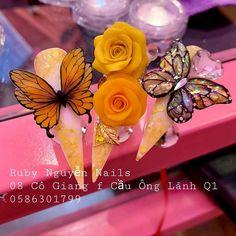 Butterfly Nail Art, Rose Nail Art, Rose Nails, Flower Nail Art, 3d Nail Art, 3d Nails, Nail Arts, Pink Nails, Acrylic Nails