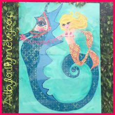 Sassy mermaid frolics along on a whimsical seahorse! This beauty is one of a kind original done on reclaimed wood, glassy finish.