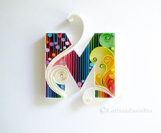 M - Quilled wall paper art - Letter M - Quilling paper art - Personalised - Custom - Framed - Monogram - Gift - Quilling art - Home decor - Idei - Quilling litere - glaskunst Quilling Letters, Paper Quilling Patterns, Neli Quilling, Quilled Paper Art, Quilling Paper Craft, Paper Crafts, Quilling Comb, Quilling Ideas, Paper Quilling For Beginners
