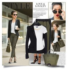A fashion look from March 2014 featuring Zalando t-shirts, Givenchy blazers и Marissa Webb capris. Browse and shop related looks. Blazer Outfits, Fall Outfits, Fashion Outfits, Womens Fashion, Fashion Beauty, Olive Green Pants Outfit, Wendy's Lookbook, Colored Pants, Green Fashion