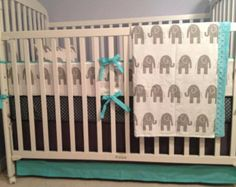 Custom Baby Boy Bedding - Sheet, Blanket & Skirt Crib Bedding in Elephants