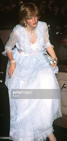 Diana, Princess of Wales (1961 - 1997) wearing a pale blue spotted evening dress, circa 1983.