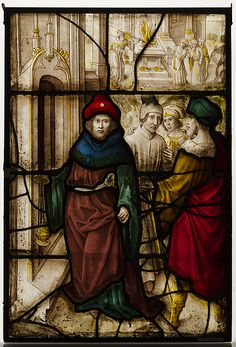Stained Glass Panel w/ Profanation of Jerusalem & the Sacred Rites of The Temple  --  16th Century  --  German or South Netherlandish  --  The Metropolitan Museum of Art