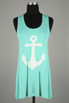 *** New Style *** Casual Lightweight Knit Tunic Tank with Nautical Anchor Print Front Featuring Pop of Color Accent Racerback.