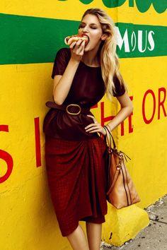 fregole.com #fregole #model #eating #hotdog Coney Island Girl