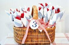 Picnic basket of utensils