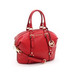 Red Michael Kors bag. Love it, want it!!!
