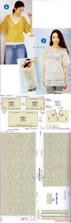 . Ажурная туника(блуза) связанная в филейной технике - Все в ажуре... (вязание…