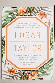tropical wedding invitation - photo by Grey to Blue Photography http://ruffledblog.com/tropical-west-coast-inspired-wedding
