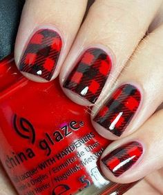 50 Red Nail Art Designs and ideas to express your attitude Loading. 50 Red Nail Art Designs and ideas to express your attitude Plaid Nail Art, Red Nail Art, Plaid Nails, Black Nail, Checkered Nails, Get Nails, Love Nails, How To Do Nails, Nail Art Vermelho