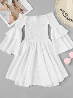 Shop Off Shoulder Pleated Dress at ROMWE, discover more fashion styles online. Cute Girl Outfits, Cute Casual Outfits, Summer Fashion Outfits, Stylish Outfits, Dress Outfits, Stylish Dresses, Simple Dresses, Pretty Dresses, Casual Dresses