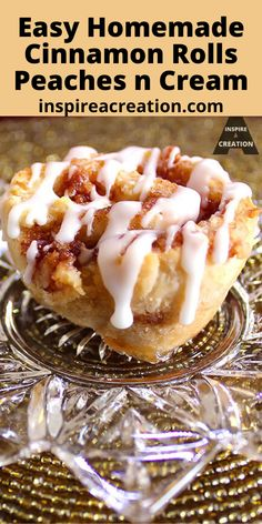 Easy Homemade Cinnamon Rolls Peaches n Cream by Inspire a Creation are the most flaky and tender rolls you will ever try.  This easy recipe starts with frozen dough. The peach jam provides just the right amount of sweetness. Plus the icing drizzle really sets these apart from the rest. #peachesncream #cinnamonrolls #breakfast #rolls #easyrecipe #inspireacreation Pie Pastry Recipe, Pastry Recipes, Baking Recipes, Best Dessert Recipes, Easy Desserts, Snack Recipes, Veggie Recipes, Sweet Breakfast, Breakfast Dessert