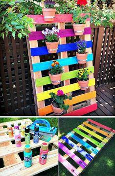 Diy Garden Projects, Diy Pallet Projects, Garden Crafts, Pallet Ideas, Wood Projects, Project Projects, Pallet Crafts, Palette Diy, Wonderful Flowers
