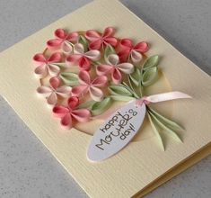handmade Mother's Day card from Paper Daisy Cards . bouquet of simple four petal flowers . Arte Quilling, Paper Quilling Designs, Quilling Paper Craft, Quilling Flowers, Quilling Patterns, Paper Crafts, Paper Art, Quilling Animals, Paper Flowers Craft