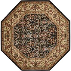 Persian Arts Black 7 ft. 9 in. x 7 ft. 9 in. Octagon Area Rug