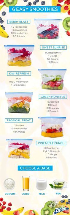 Shake up your smoothie routine with these tasty fruit and veggie combinations, featuring strawberries, raspberries, spinach, mango, banana, kiwi, and grapes. Each recipe can be pre-portioned in a Ziploc® bag and frozen ahead of time. Then you can just