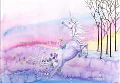PRINT UNICORN FANTASY spring butterflies trees by OriginalSandMore, $18.00