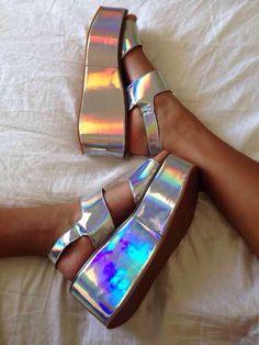 Silver holographic flatform sandals - wedges - shoes / boots - women