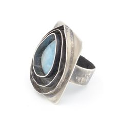 Oxidized Sterling silver ring, set with Dominican Republic Larimar on a triple silver bezel.