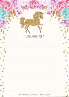 Cool FREE Printable Golden Unicorn Birthday Invitation Template