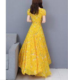 Sweet Heart Print Maxi Dress in 2020 Modest Dresses, Cute Dresses, Summer Dresses, Ball Gown Dresses, Gowns, Frock Models, Pakistani Dresses Casual, Kurti Designs Party Wear, Chiffon Maxi Dress