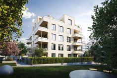 Mit 7 Häusern wurde hier ein einzigartiges Quartier konzipiert, das über moderne Eigentumswohnungen verfügt. Projekt: Rhein VII von corpus sireo makler