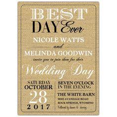 Best Day Ever Lesbian Wedding Invitations