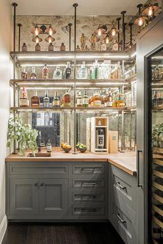 Cocina Art Deco, Casa Art Deco, Art Deco Bar, Art Deco Kitchen, Bar In Kitchen, French Bistro Kitchen, Kitchen Modern, Kitchen Dining, Kitchen Bar Design