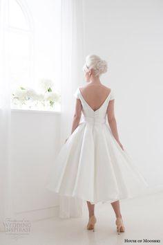 house of mooshki spring 2015 maggie short tea length wedding dress cap sleeves v back