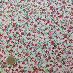 coton liberty fleurs et papillons moyen corail - Eurotissus, tissu au mètre et mercerie