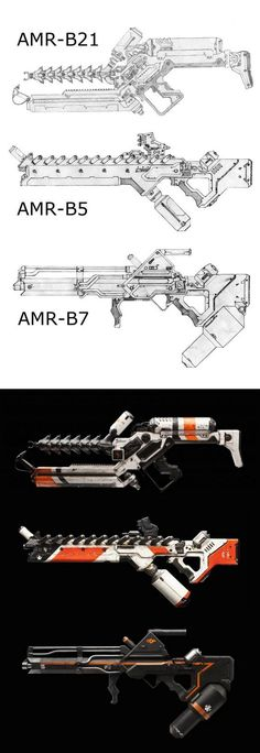 alien weapons from the movie District 9 - the illustrations at top are by J-J8 on deviantART