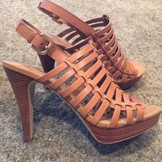 """Franco Sarto tan leather heels 4 1/2"""" heel with 1 1/4"""" platform. Like new, worn once by another posher. They were too high for me as I looked like a fool wobbling all over the place! No scratches, perfect condition! Beautiful heel, very classy!! Franco Sarto Shoes Heels"""