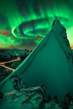 Green aurora, Svolvaer, Norway