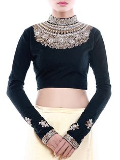Graceful Black Blouse Adorned with Metallic Embroidery, Stones and Sequins at the Yoke. Sheer Georgette Sleeves. #SareeBlouse #Blouses #DesignerBlouses #BridalClothing #bridalwear