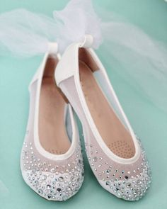 79a9ae1d2e9 WHITE Embellished Mesh Ballet Flats with Tulle Ankle Wrap. Communion ShoesCommunion  DressesFlower Girl ...