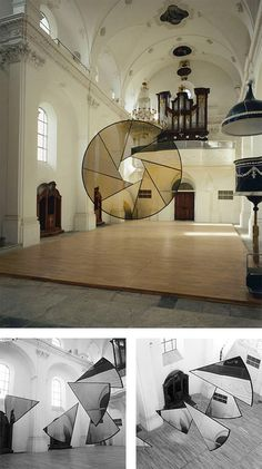 Anamorphic illusions, Felice Varini. Site-specific, geometric perspective-localized paintings.