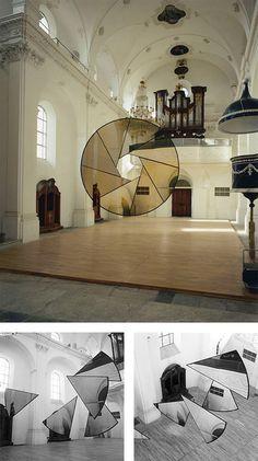 Anamorphic illusions, Felice Varini. Site-specific, geometric perspective-localized paintings.