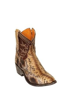 bf0a441905b Lyst - Mexicana 40mm Leather and Python Low Boots in Brown