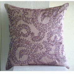Purple Ivy - Euro Sham Covers - 26x26 Inches Silk Euro Sham Cover with Embroidery & Sequins