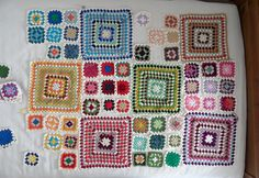 granny square blanket by baahar, via Flickr love how the colours of smaller squares relate to ten bog square near it!