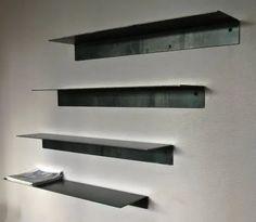 Bookcase Shelves, Wall Mounted Shelves, Shelf, Shelving, Steel Furniture, Bespoke Furniture, Tole Pliée, Tole Acier, Steel Sheet Metal