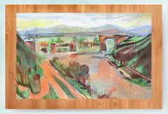 A valley vision. Hand finished print mounted on wood board. Approximately 12 inches by 8 inches, and usually a 1 inch border.