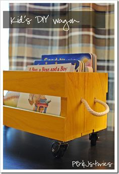 """Want to make three wheeled crates like this to keep under entry way bench: one for """"to go to playroom,"""" one for """"to go to Big Sis room"""" and one for """"to go to babies' room"""""""
