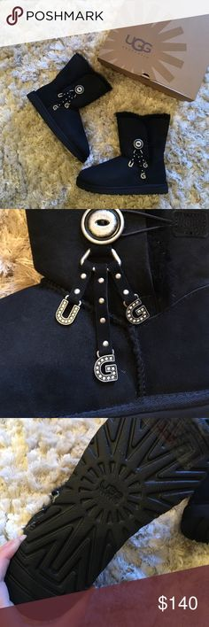 Black UGG Azalea w/ charms These brand new in box UGGs are perfect for fall! They are mid-calf. Super duper soft and an awesome deal!!! Snag them before it's too late. These are an absolute must-have. Box doesn't include original tissue paper. UGG Shoes Winter & Rain Boots
