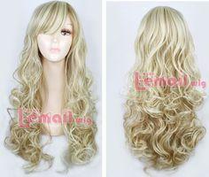 Wome-Fashion-70cm-Long-Mix-Blonde-Light-Brown-Curly-Wavy-Hair-Wigs-Wig-Cap-FL22
